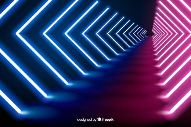 Neon wave lights fond de scène Vecteur gratuit