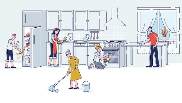 Nettoyage De La Cuisine De La Famille Ensemble Parents Grand-mère Et Enfants Faisant Le Ménage Vecteur Premium