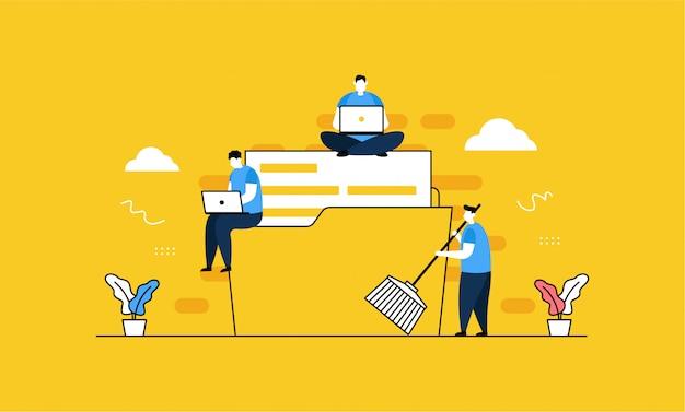 Nettoyage de données en style plat Vecteur Premium