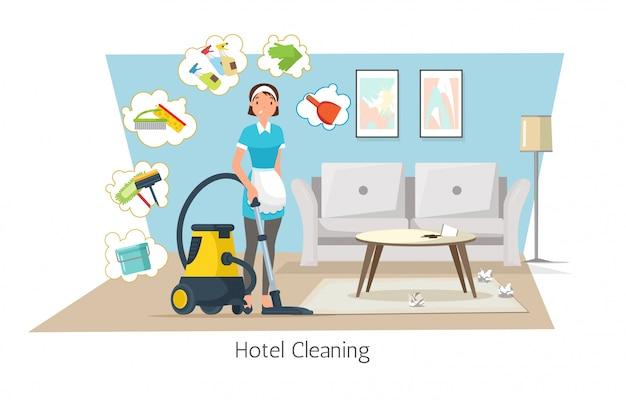 Nettoyage de l'hôtel, nettoyage de tapis de chambre dans la chambre. Vecteur Premium