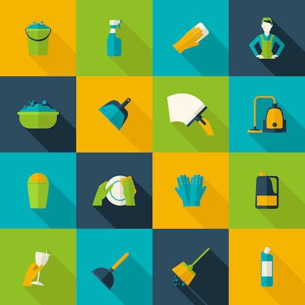 Nettoyage icon flat Vecteur Premium