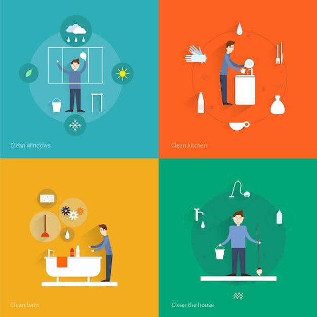 Nettoyage des icônes plats définis avec illustration vectorielle de windows cuisine bain maison isolé Vecteur Premium