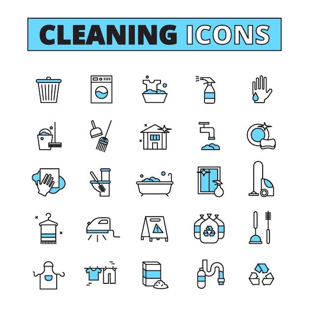 Nettoyage jeu d'icônes dessinées à la main des nettoyants pour appareils ménagers et des détergents isolés illustration vectorielle Vecteur Premium