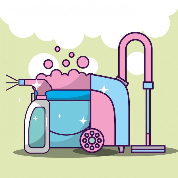 Nettoyage de linge lié Vecteur Premium