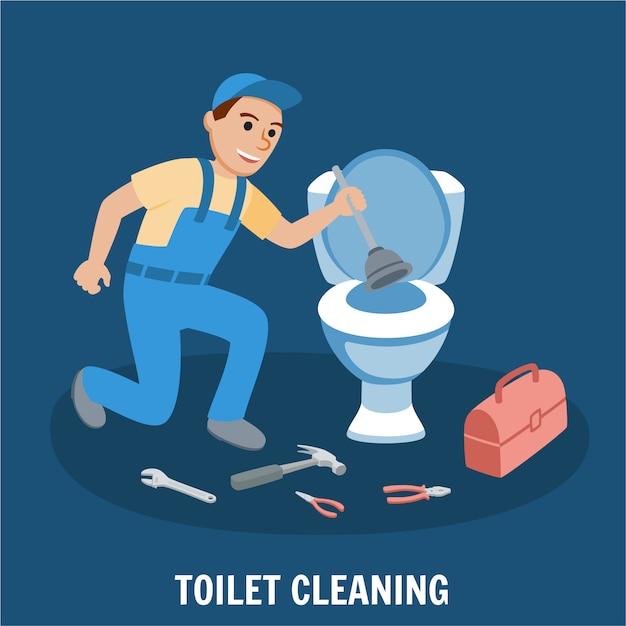 Nettoyage des toilettes Vecteur Premium