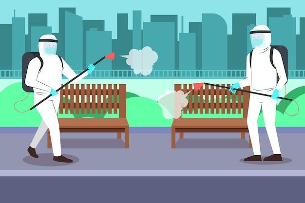 Nettoyage Des Travailleurs Vecteur Premium