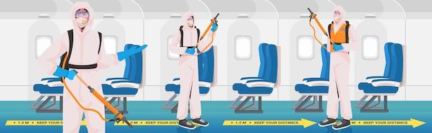 Les Nettoyeurs Professionnels En Combinaisons De Matières Dangereuses L'équipe De Concierges Nettoie Et Désinfecte L'avion Pour Prévenir La Pandémie De Coronavirus Vecteur Premium
