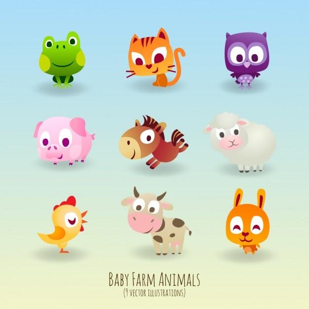 Neuf animaux mignons Vecteur gratuit