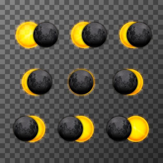 Neuf étapes D'éclipse Avec Lune Satellite Réaliste Et Soleil étoile Sur Fond Transparent Vecteur Premium