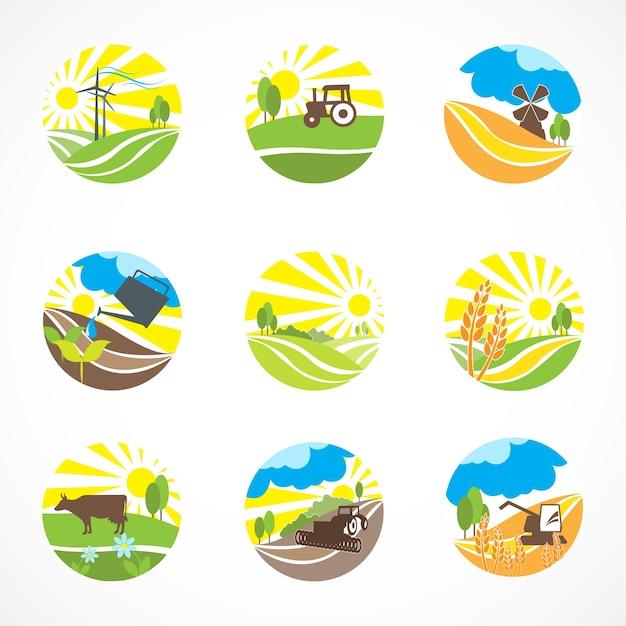 Neuf Scènes Agricoles Vecteur gratuit