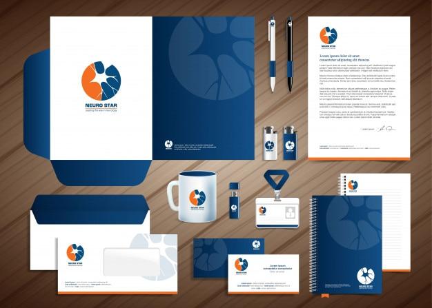 Neurology nerve logo, conception de modèle d'identité d'entreprise, stationery design Vecteur Premium