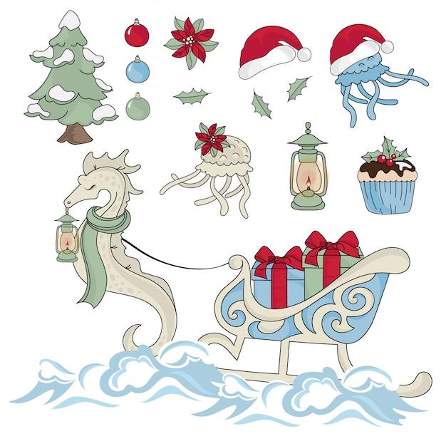 New year sea horse nouvel an couleur Vecteur Premium