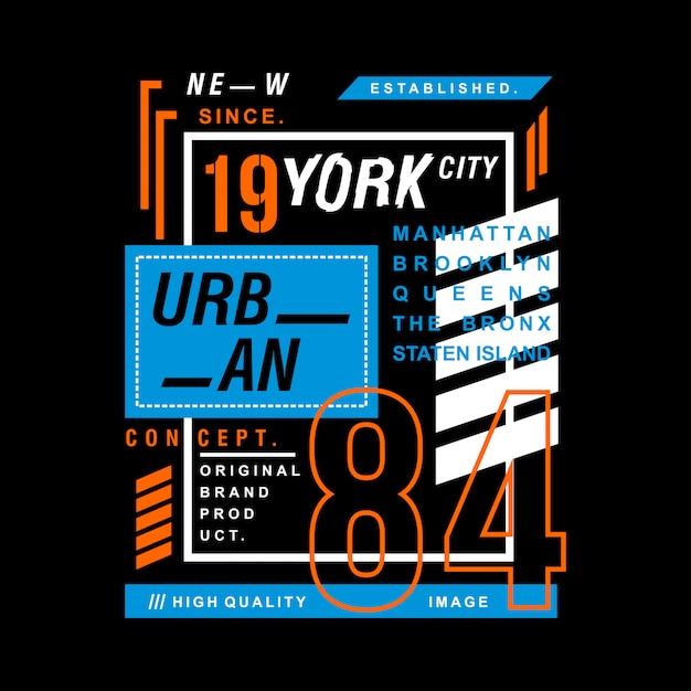 New york city design t-shirt graphique de typographie Vecteur Premium