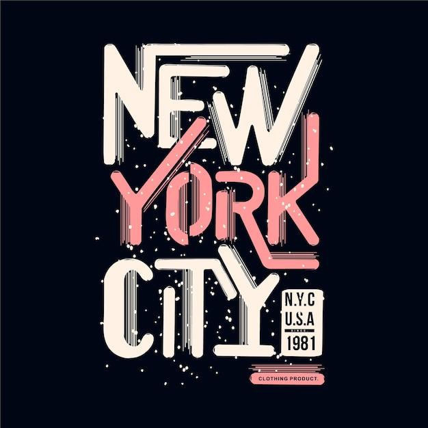 New York City Lettrage T Shirt Design Typographie Illustration Vecteur Premium
