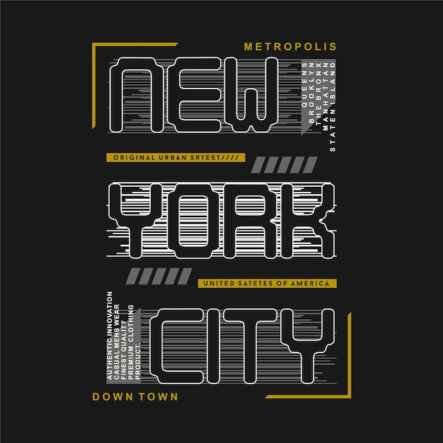 New York City Rayé Fond Graphique Design Illustration Typographie Pour T-shirt Vecteur Premium