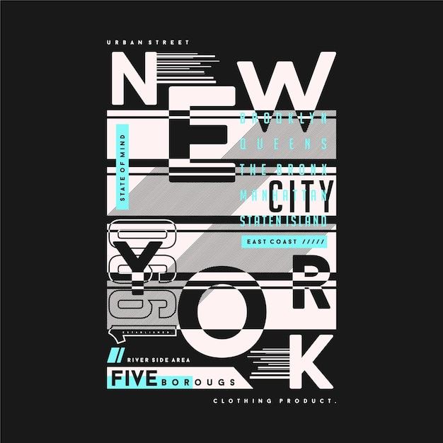 New York City Résumé Texte Cadre Typographie Graphique T-shirt Illustration Pour Le Style De La Jeune Génération Vecteur Premium