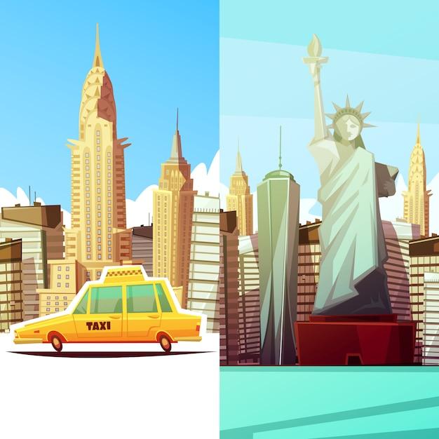 New york, deux, bannières, dans, style dessin animé, à, manhattan, monuments, skylines, jaune, taxi, voiture Vecteur gratuit