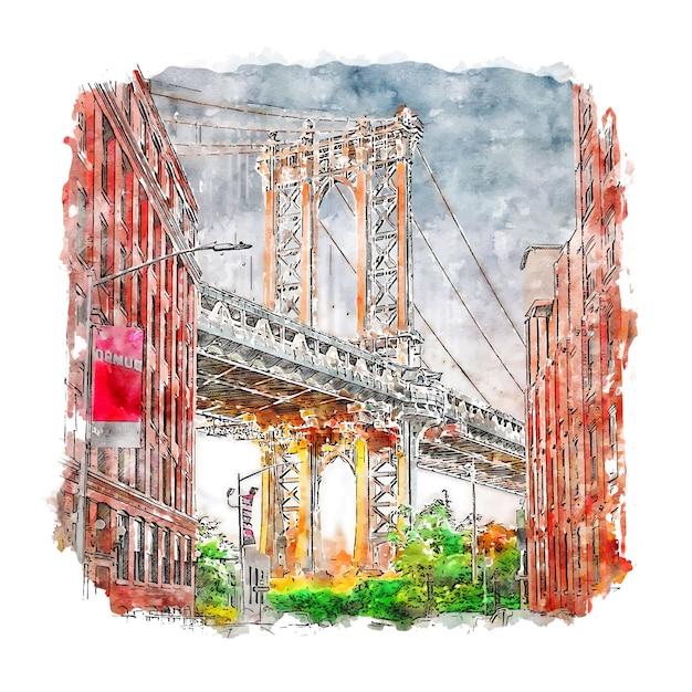 New York états-unis Aquarelle Croquis Illustration Dessinée à La Main Vecteur Premium