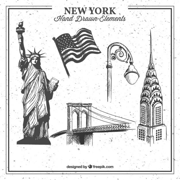 New york hand drawn elements collection Vecteur gratuit