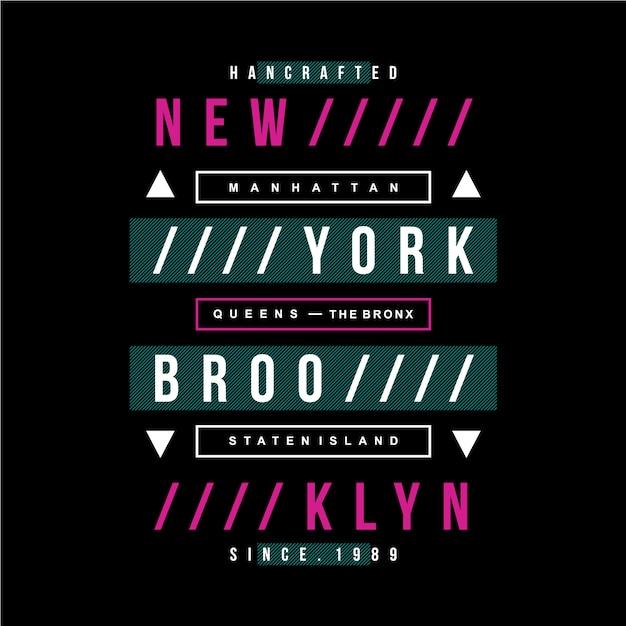 New york texte design vintage moderne Vecteur Premium