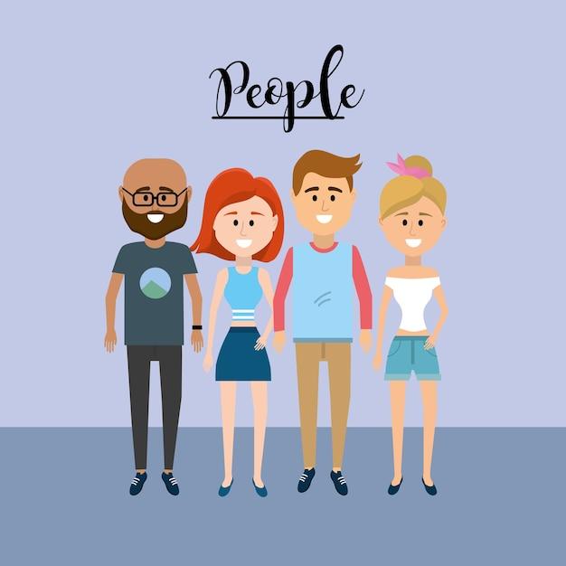 Nice people ensemble avec des vêtements design Vecteur Premium