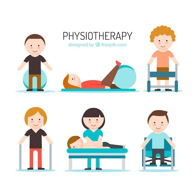 Nice people avec physiothérapeute Vecteur gratuit