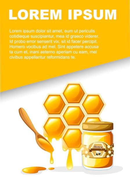 Nid D'abeille Avec Des Gouttes De Miel Sucré Et Cuillère En Bois Vecteur Premium