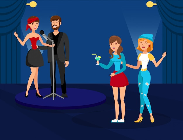 Night club karaoke party illustration vectorielle plane Vecteur Premium