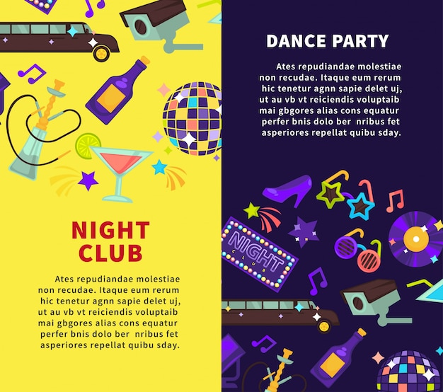 Night club party et posters de soirée dansante Vecteur Premium
