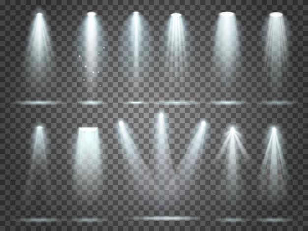 Night club party projecteurs sur scène et projecteurs blancs éclairage intérieur 3d réaliste set 3d Vecteur Premium