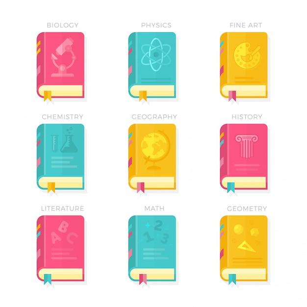 Nine school lessons book covers vector illustration ensemble d'icônes Vecteur Premium