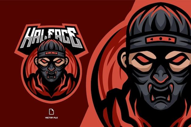 Ninja Assassin Oni Masque Mascotte Sport Logo Illustration Vecteur Premium