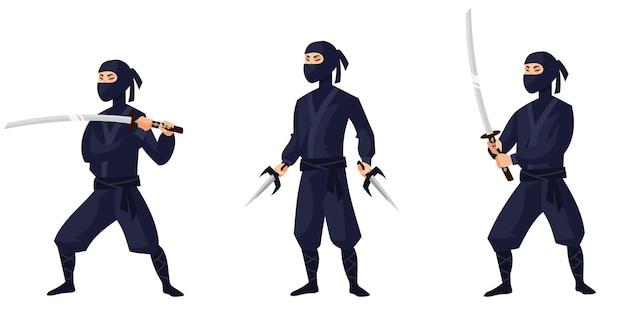 Ninja Dans Différentes Poses. Caractère Du Japon En Style Cartoon. Vecteur Premium