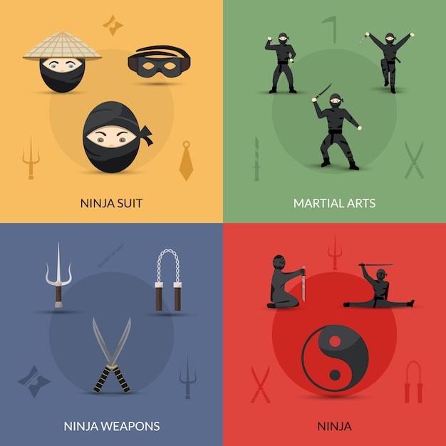 Ninja icons set Vecteur gratuit