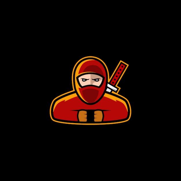Ninja logo design stock vecteur Vecteur Premium
