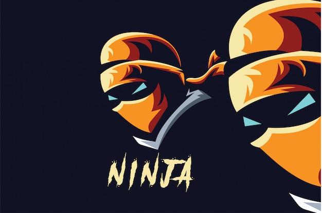 Ninja logo sport Vecteur Premium