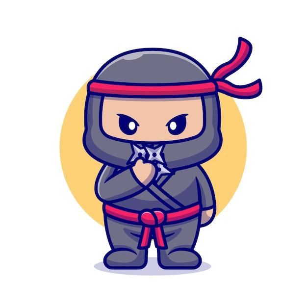 Ninja Mignon Avec Dessin Animé Shuriken. Style De Bande Dessinée Plat Vecteur gratuit