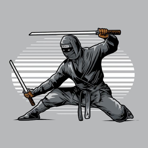 Ninja Prêt à Frapper Dans L'ombre Vecteur Premium