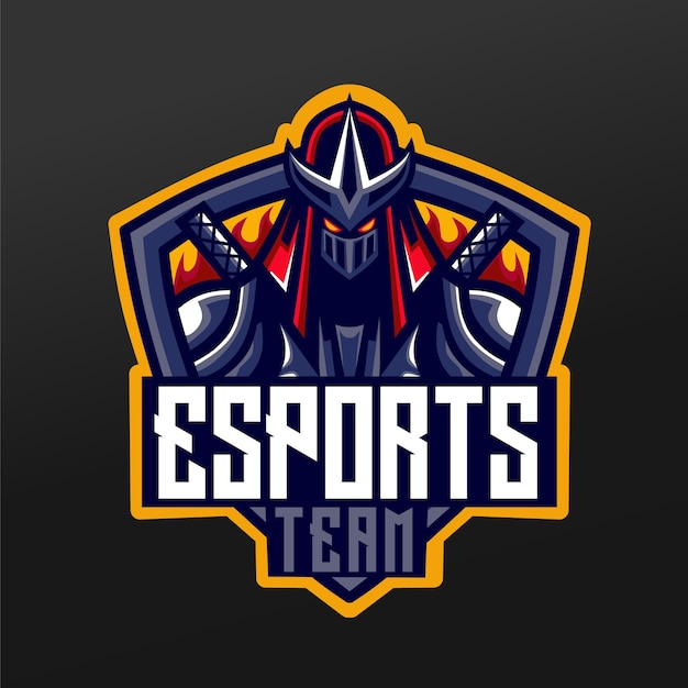 Ninja Samurai Mascot Sport Illustration Design Pour Logo Esport Gaming Team Squad Vecteur Premium