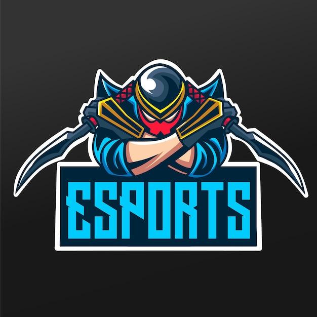 Ninja With Swords Mascot Sport Illustration Design Pour Logo Esport Gaming Team Squad Vecteur Premium
