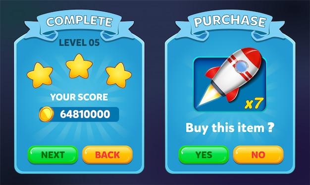 Niveau complet et menu d'achat contextuel avec score d'étoiles et boutons gui Vecteur Premium