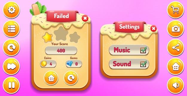 Niveau échec et menu des options de configuration apparaissent avec le score d'étoiles et les boutons Vecteur Premium