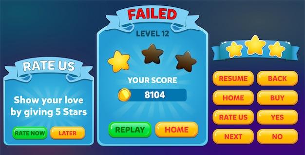 Le niveau a échoué et évaluez-nous le menu contextuel avec le score d'étoiles et les boutons Vecteur Premium