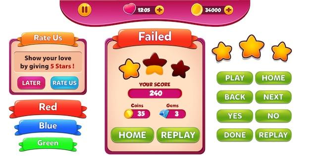 Niveau faied et évaluez-nous menu pop-up avec score étoiles et boutons gui Vecteur Premium