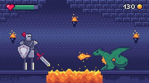 Niveau De Jeu De Pixel Art. Hero Warrior Combat 8 Bits Dragon, Pixels Jeux Vidéo Niveaux Scène Paysage Et Illustration De Jeu Rétro Vecteur Premium