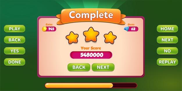 Niveau menu complet pop up avec score étoiles et boutons gui Vecteur Premium