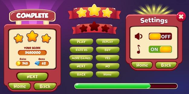 Niveau terminé et menu contextuel avec menu étoiles et boutons Vecteur Premium