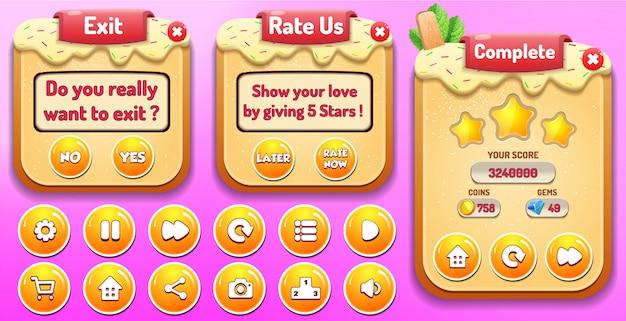 Niveau terminé, menu noter et quitter, menu déroulant avec le nombre d'étoiles et les boutons Vecteur Premium