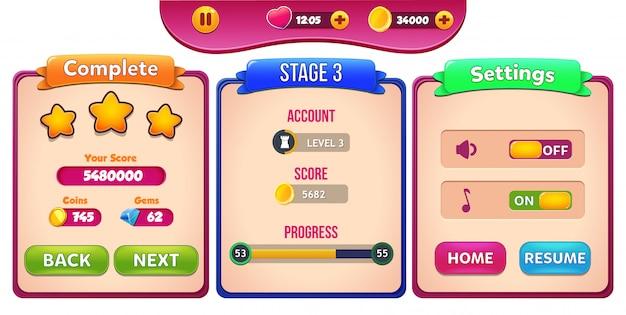 Niveau terminé, scène et menu contextuel avec score d'étoiles et boutons Vecteur Premium
