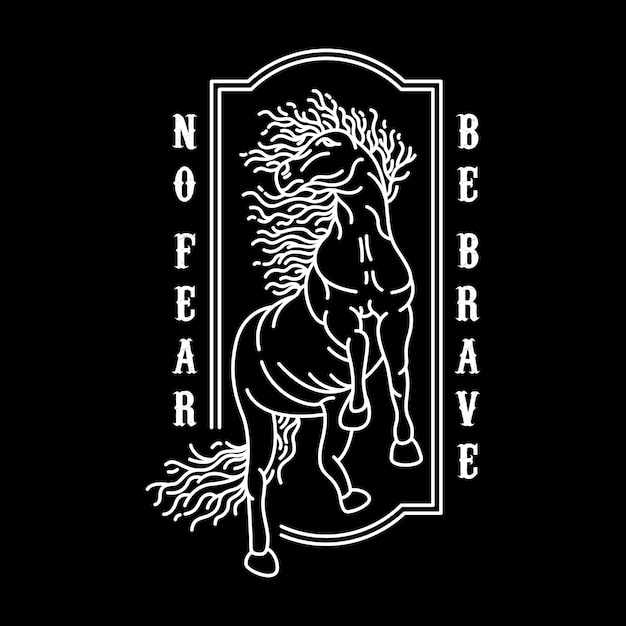 No Fear Be Brave Vecteur Premium